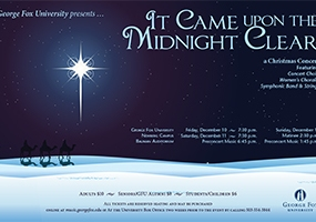 George Fox University Christmas Program (Poster, Postcard, and Program)