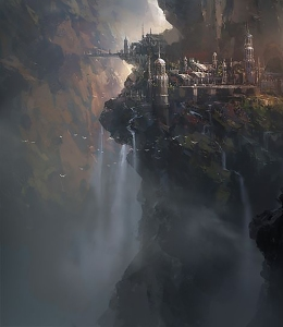 Town on a cliff with bridge over waterfall