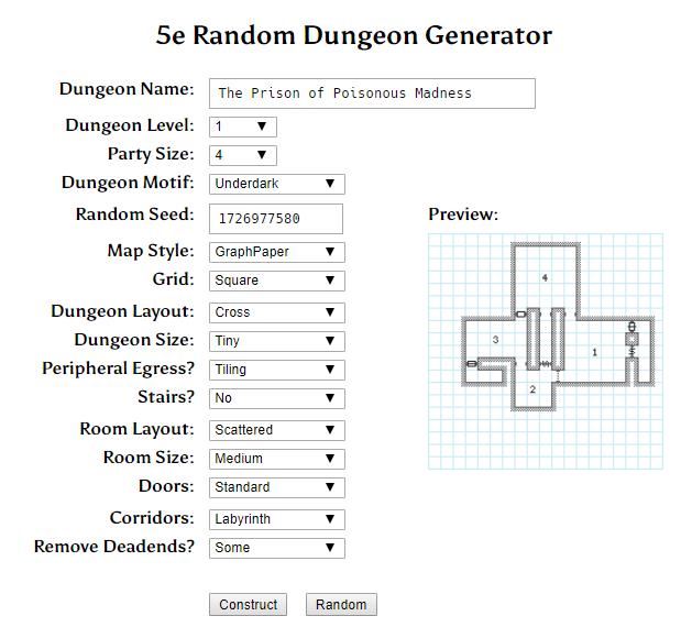 Donjon Random Dungeon Generator Screen Capture
