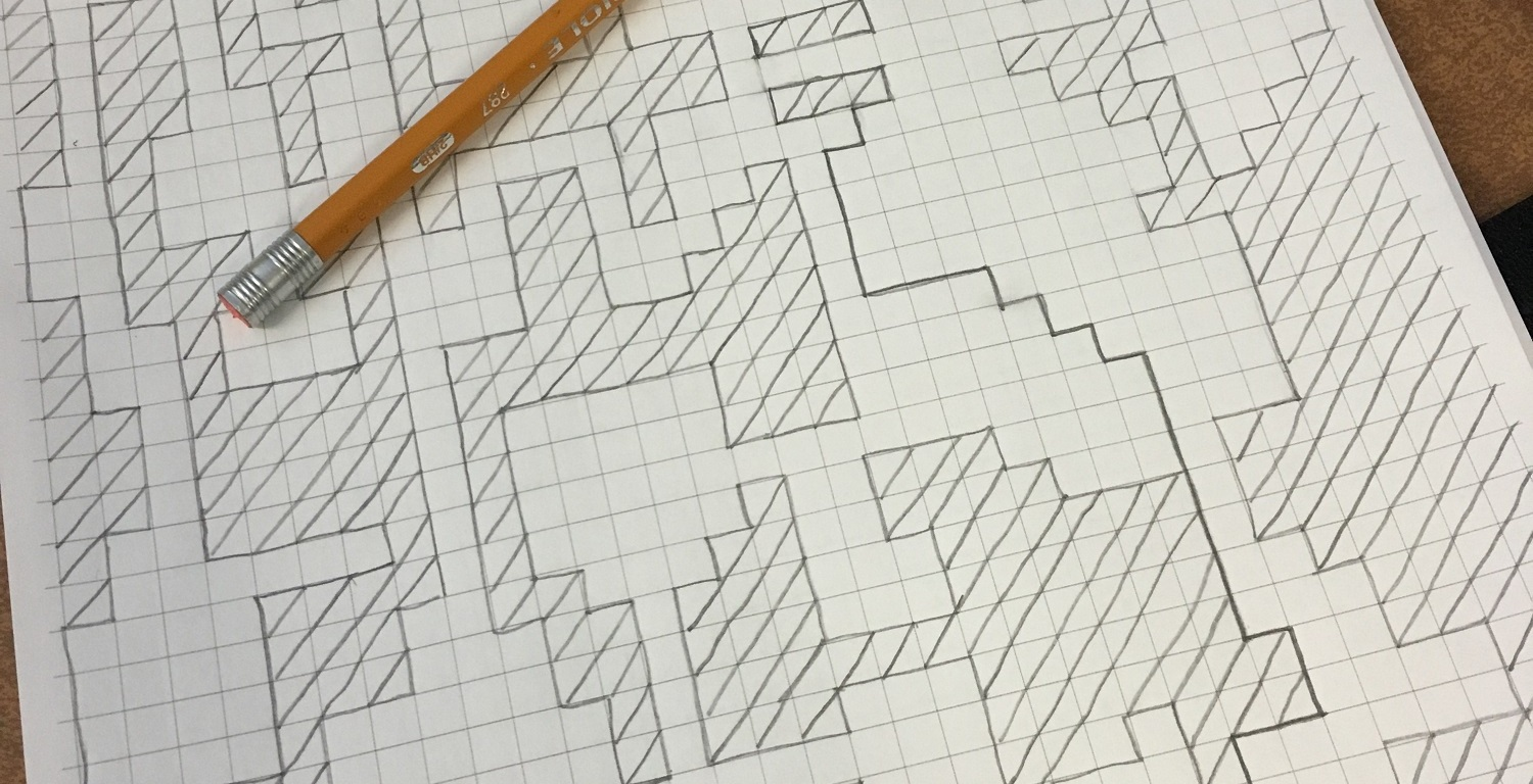 map maze on grid paper, pencil on top