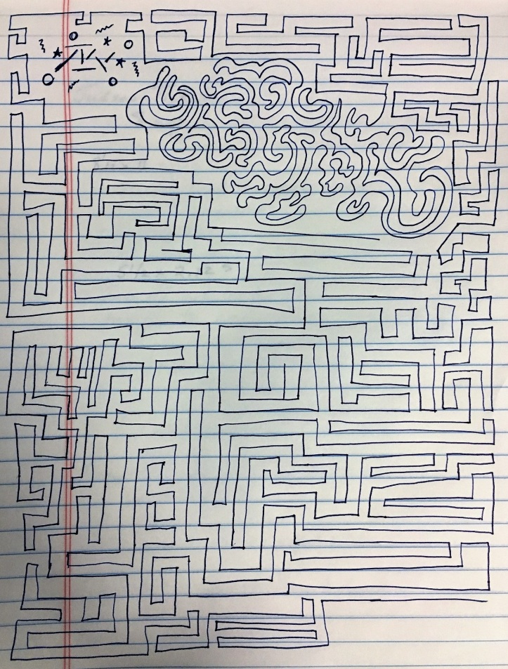 maze doodle on notebook paper