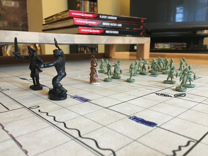 Minis on battlegrid for Amagoste Farmhouse battle