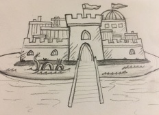 Pencil sketch of a Castle with Moat Dragon on an Island