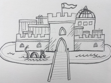 A pencil sketch of a castle with a moat and a dragon. I took this picture in my car. I find the color difference light on the paper makes fascinating.)