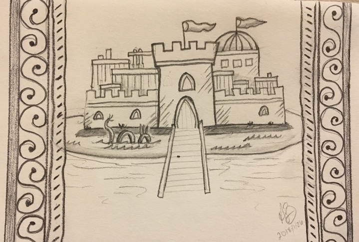 Pencil sketch of castle with moat, dragon, and a fancy border