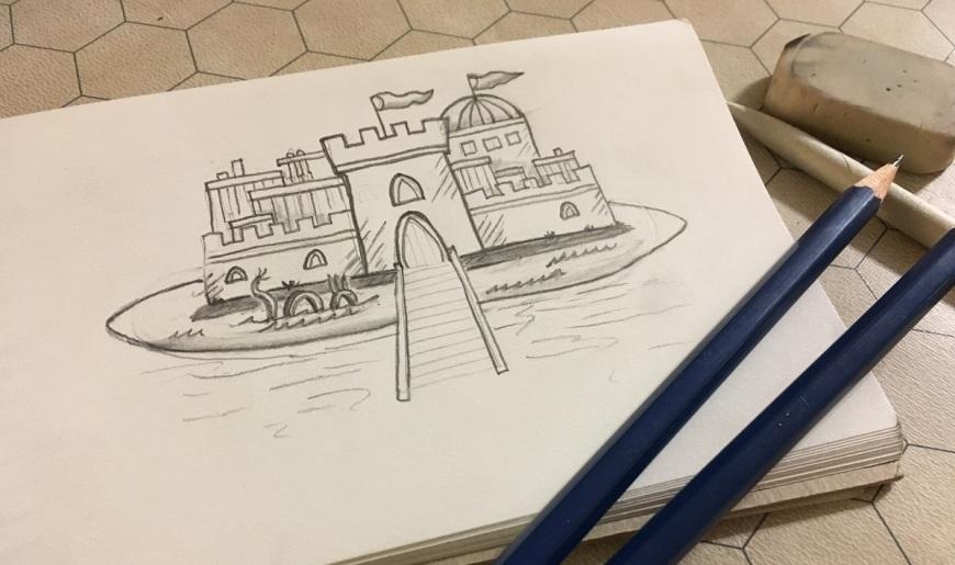 Pencil sketch of castle on small notebook, 2 pencils, eraser