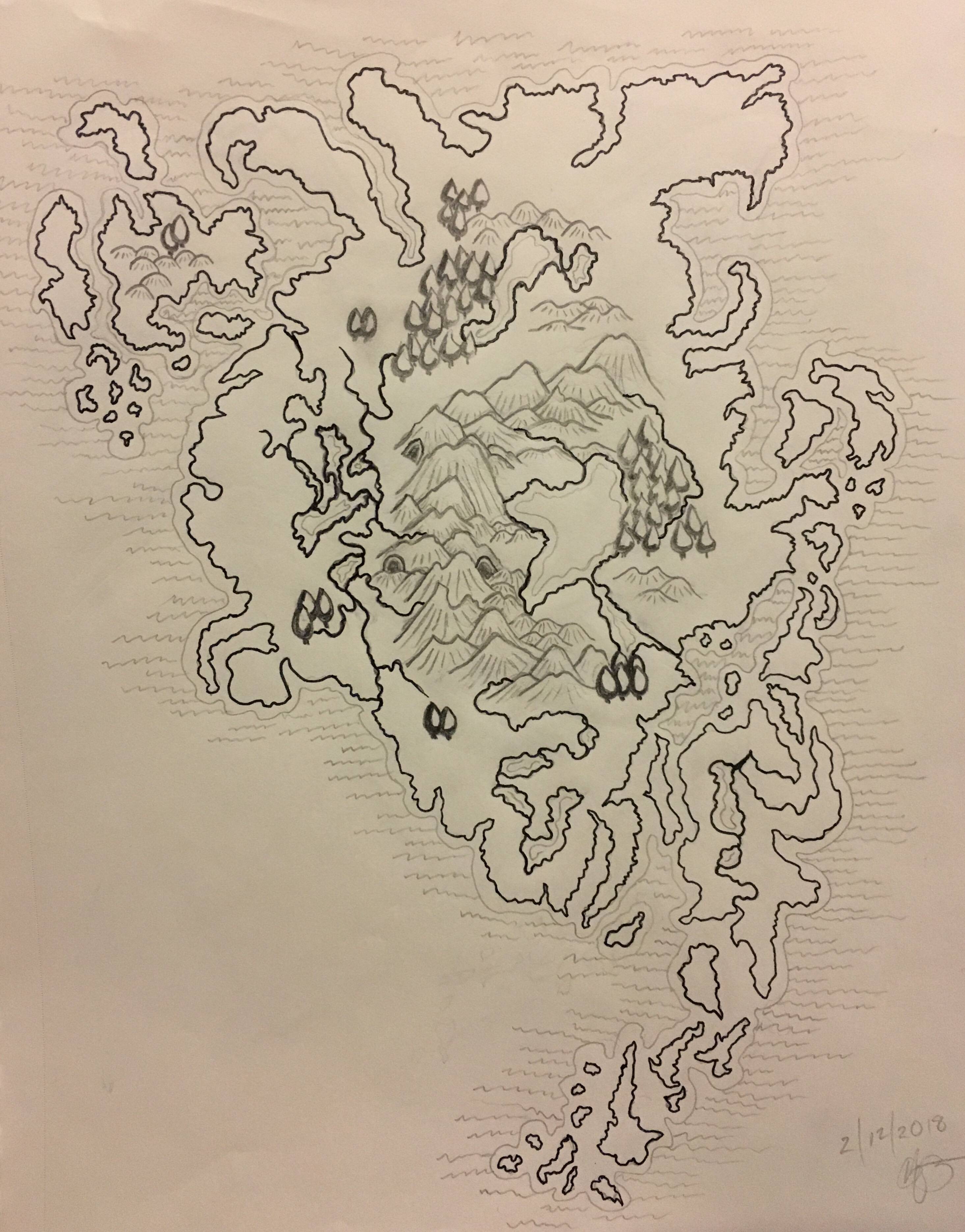 Bestosa is a map of a fantasy continent pencil sketch