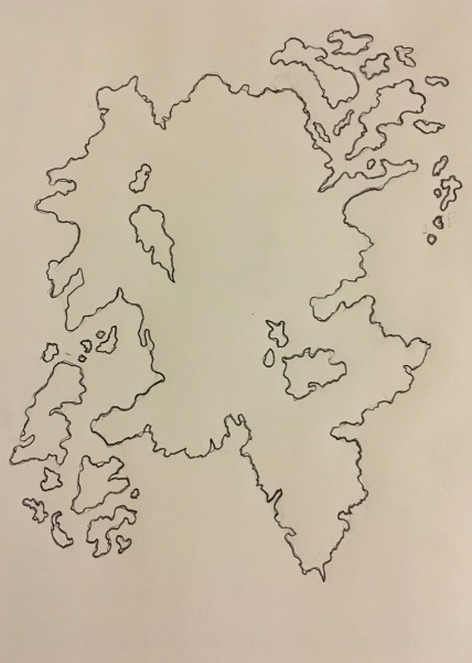 Step 1 in drawing a fantasy map - outlining the continent, islands, and lakes