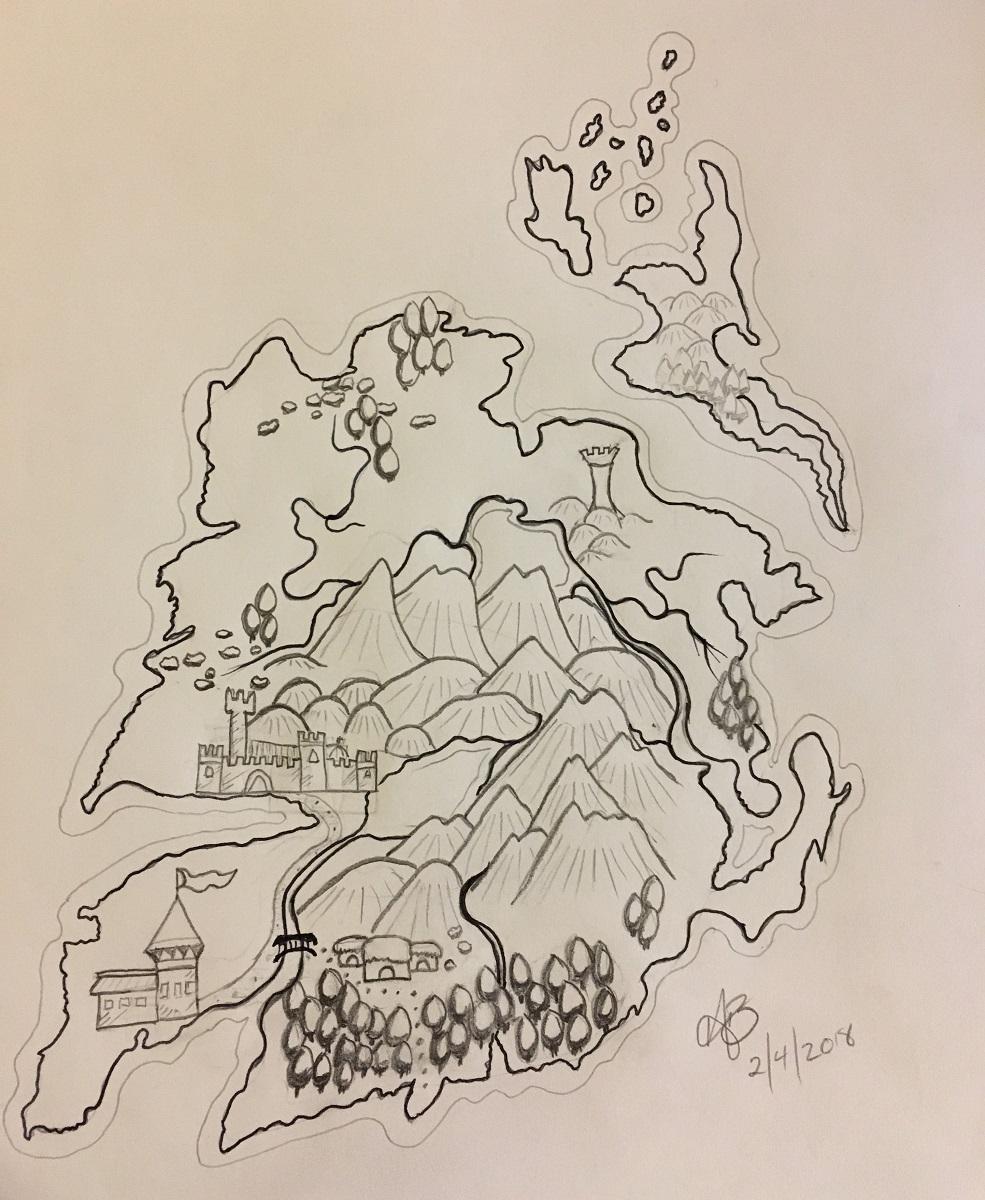 2nd Map effort - Big mountains, weird towns