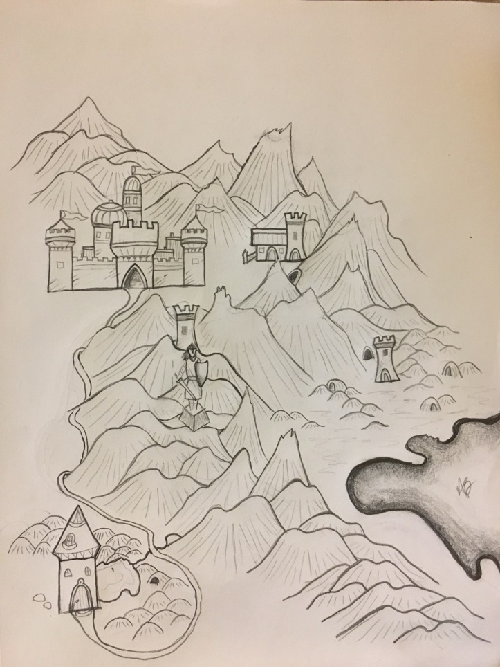 Pencil Sketch: Mountain ranges, castle, towers, troll hills, statue