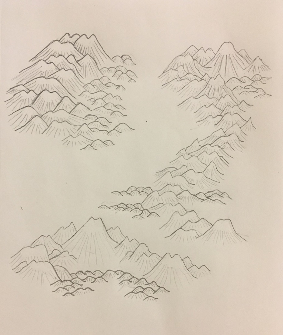 Pencil sketches of mountains ranges and hills