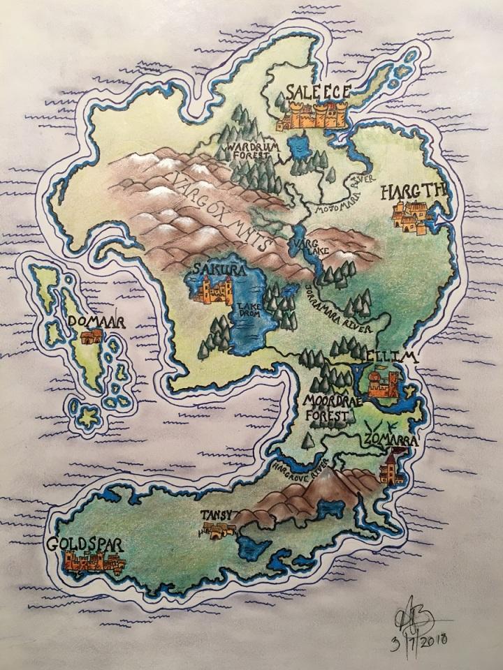 Color sketch of a fantasy map