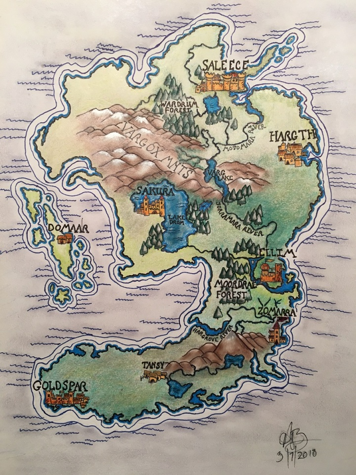 Color sketch of a fantasy map
