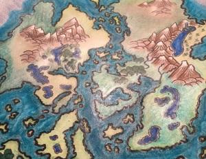 Bealdunagaen map cropped to show shiny reflection