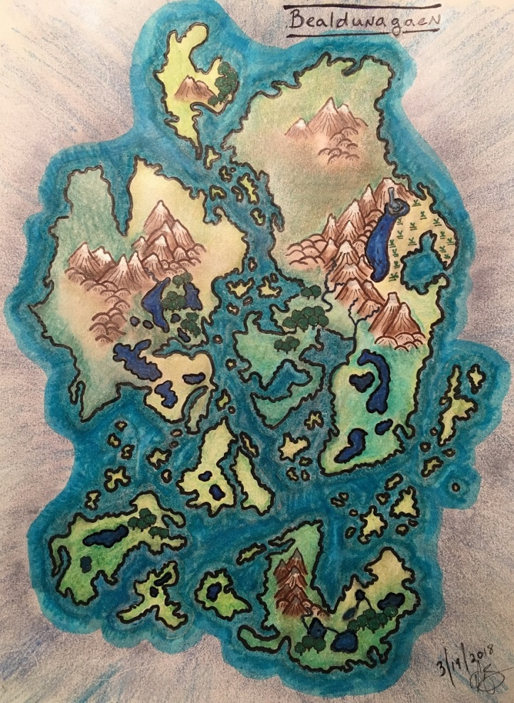 Color hand-drawn map with islands and mountains of imaginary Bealdunagaen