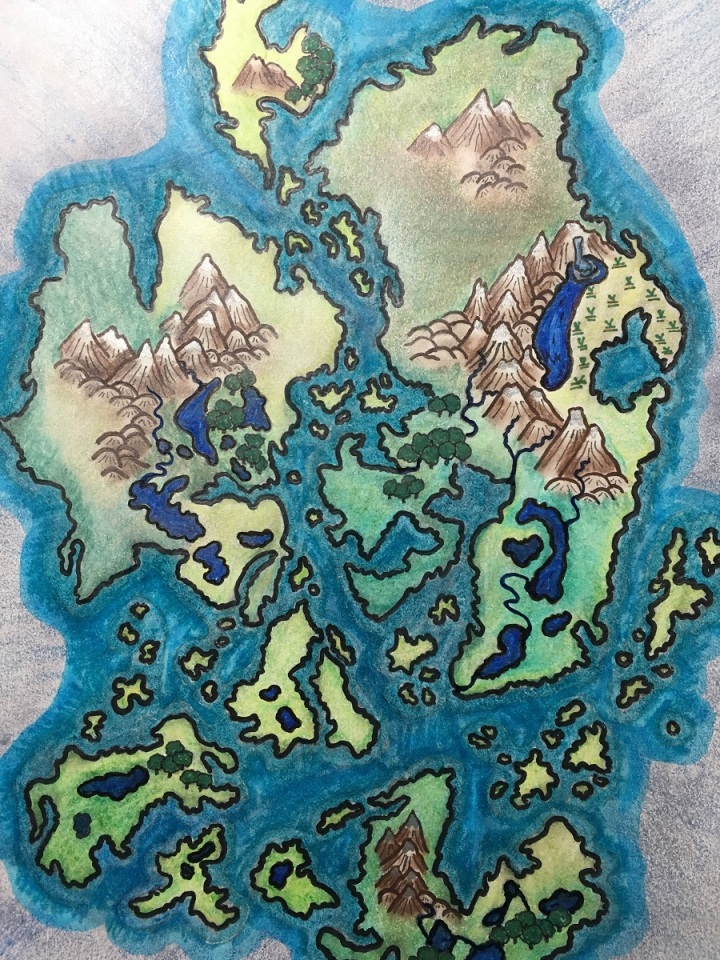 Hand drawn Fantasy map in color