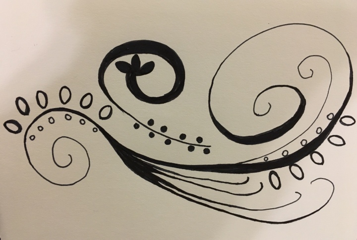 Swirls and whirls and graphic designee bits with black ink only