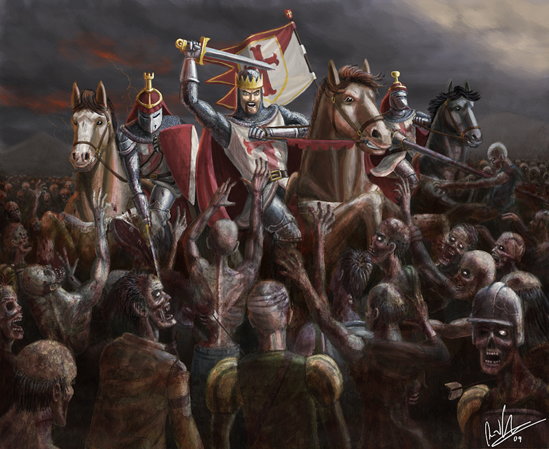 Undead horde attacks 3 mounted knights