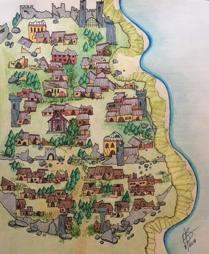 Hand drawn color fantasy town map