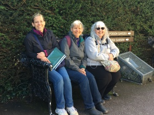 3 women on a bench in Blarney Castle