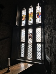 Stained glass window inside Bunratty Castle