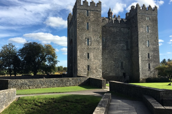 Exterior of Bunratty Caslte in a beautiful blue sky moment