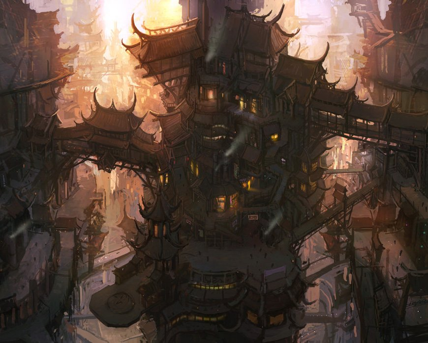 multi-level steampunk town