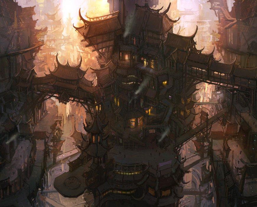 multi-level steampunk town