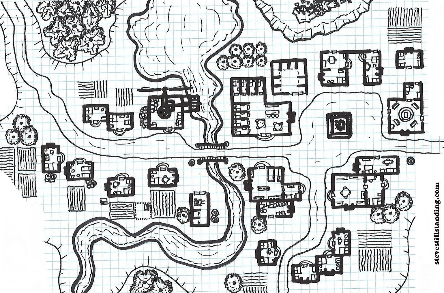 line drawing of fantasy town: https://stevestillstanding.com/2017/09/30/the-laidback-dm-12-free-village-map/