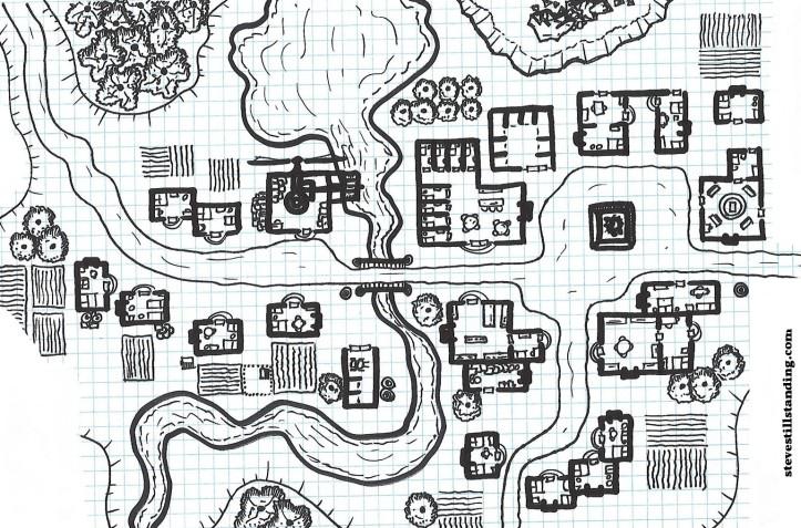 line drawing of fantasy town: https://stevestillstanding.com/2017/09/30/the-laidback-dm-12-free-village-map/