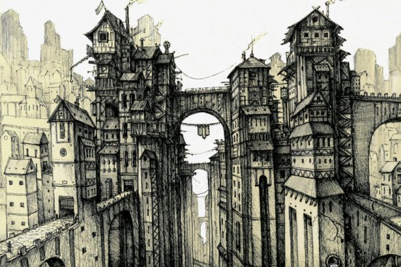 sketch of a fantasy town by bulbar