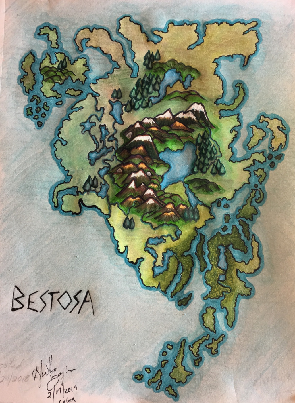 Fantasy map of Bestosa (original color)