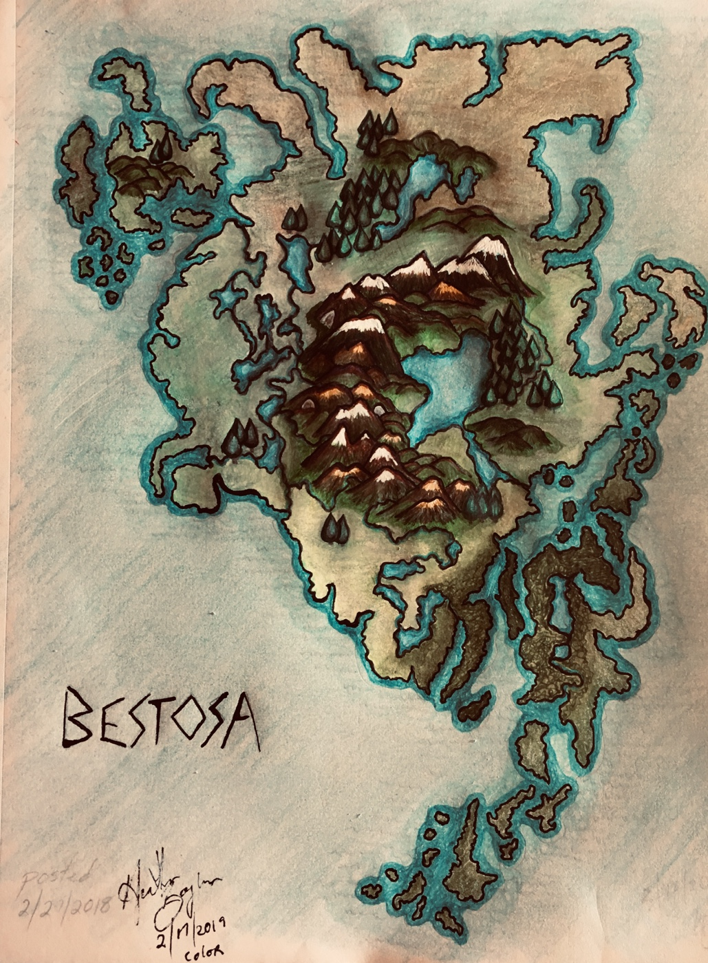 Fantasy map of Bestosa in color