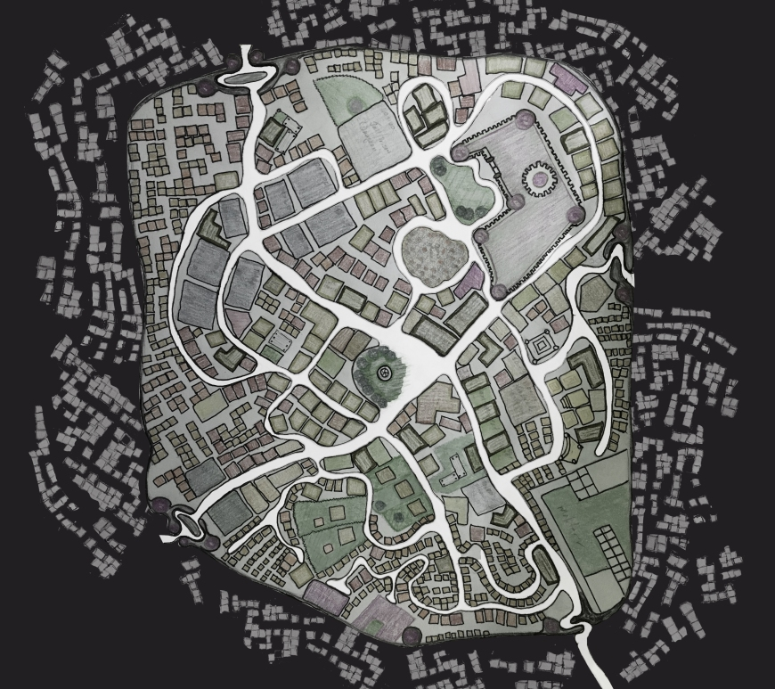 map of the town of Obsidian