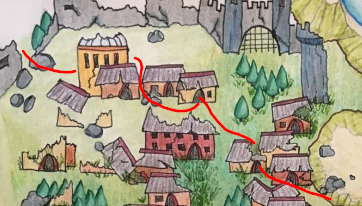 A section of the hand-drawn map from the Ruins of Amara
