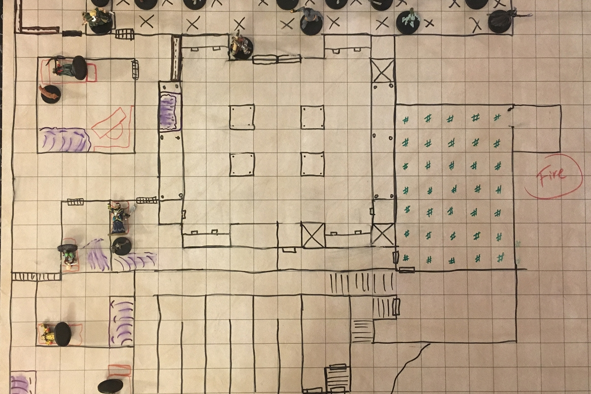 Grid map of dungeon