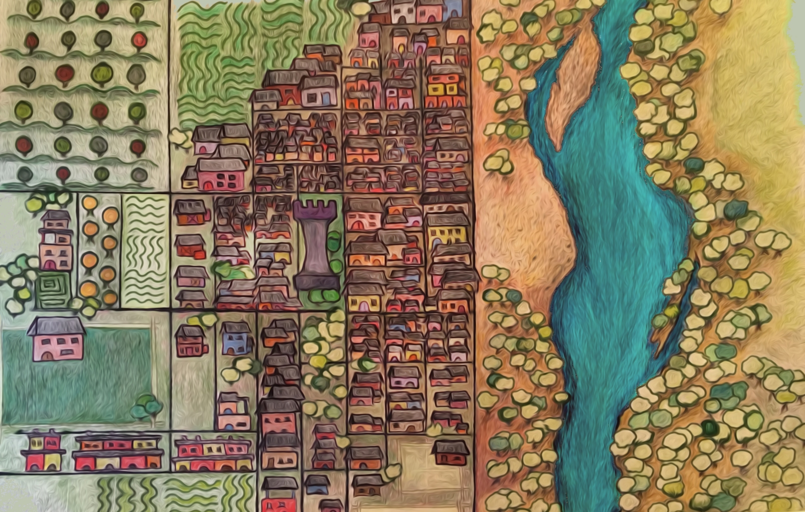 city of Manifort's Freedom hand-drawn map