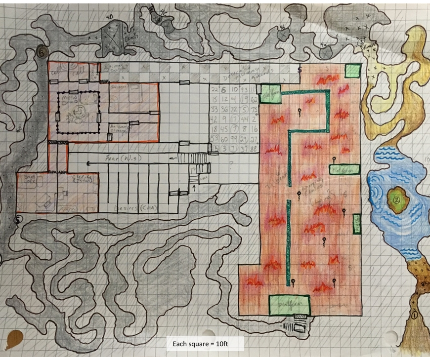 Dungeon map sketched out on grid paper